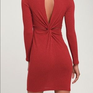 Lulus rust red long sleeve bodycon dress NWT